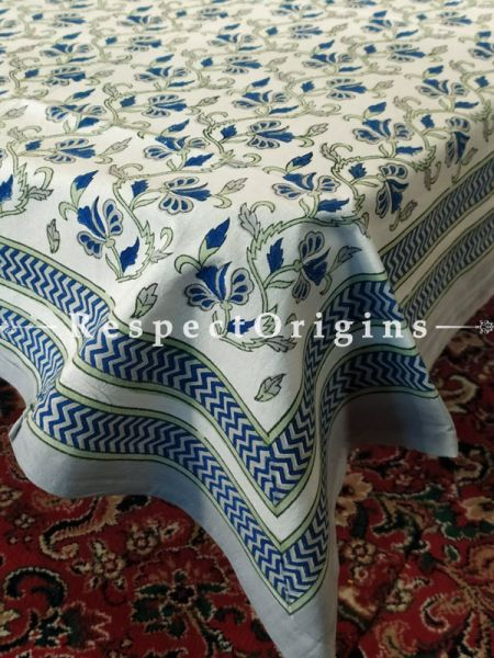 Buy Floral Vines in Blue n Green on White Base Pure Cotton Block-printed Jaypuri Dohar Comforter Quilt with Piping at RespectOrigins.com