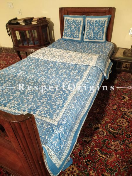 Buy Blue and White Pure Cotton Block-printed Jaypuri Dohar Comforter Quilt with Piping at RespectOrigins.com
