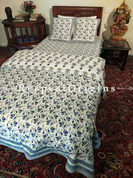 Floral Vines in Blue n Green on White Base Pure Cotton Block-printed Jaypuri Dohar Comforter Quilt with Piping, 90 Inches x 60 Inches with Single Bedspread Set, 90 Inches x 60 Inches; TwoCushion Covers Included, 16 Inches x 16 Inches.