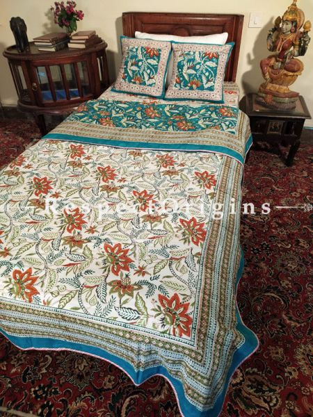 Buy Large Blossoms n White Base Pure Cotton Block-printed Jaypuri Dohar Comforter Quilt with Piping at RespectOrigins.com
