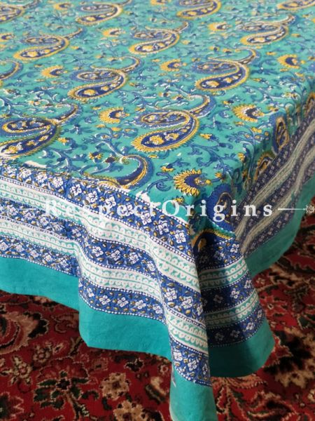 Buy Meditteranean Colours Blue Cotton Block-printed Jaypuri Dohar Comforter Quilt with Piping at RespectOrigins.com