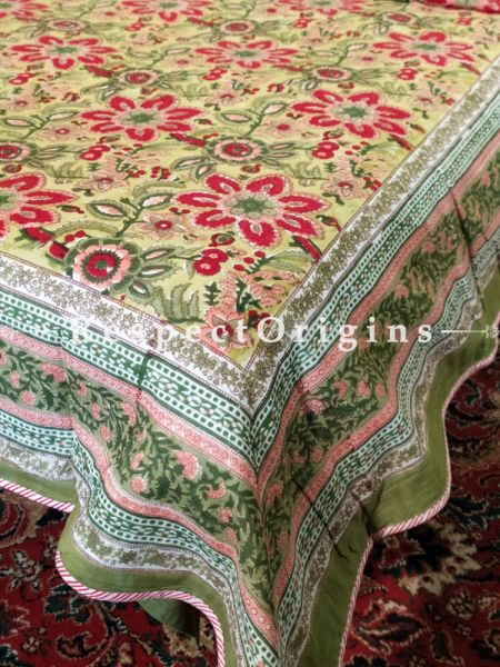 Buy Provencal Floral Pure Cotton Block-printed Jaypuri Dohar Comforter Quilt with Piping at RespectOrigins.com