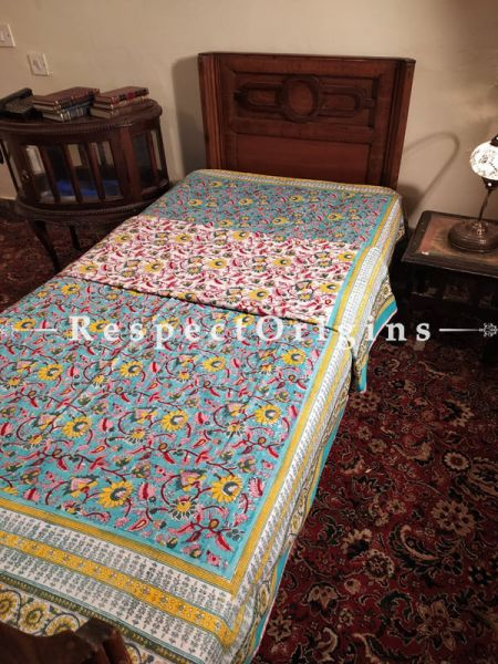 Buy Blue and Pink Pure Cotton Block-printed Jaypuri Dohar Comforter Quilt with Piping' at RespectOrigins.com