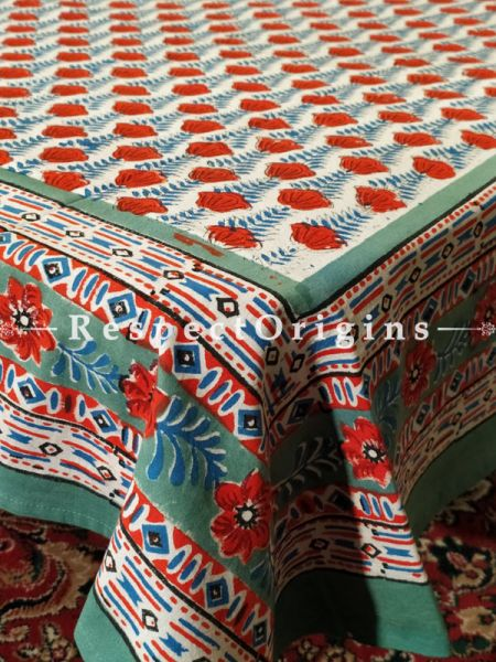 Buy Happy Red n Green French Floral Pure Cotton Block-printed Jaypuri Dohar Comforter Quilt with Piping at RespectOrigins.com