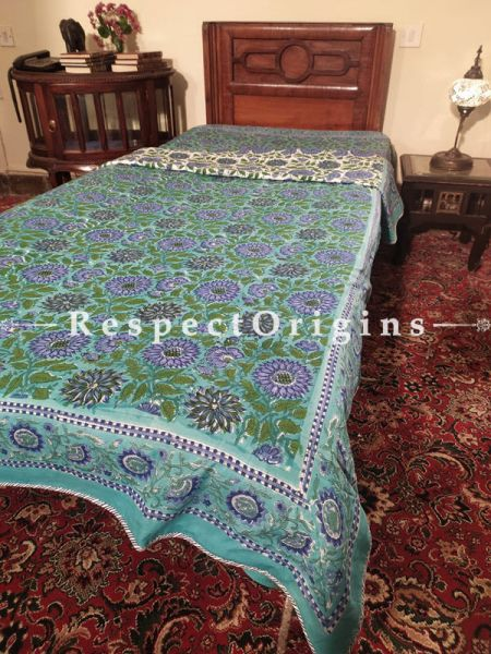 Buy Green n Blue Provencal Floral Pure Cotton Block-printed Jaypuri Dohar Comforter Quilt with Piping at RespectOrigins.com