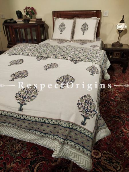 Buy White Base Pure Cotton Block-printed Jaypuri Dohar Comforter Quilt with Piping at RespectOrigins.com