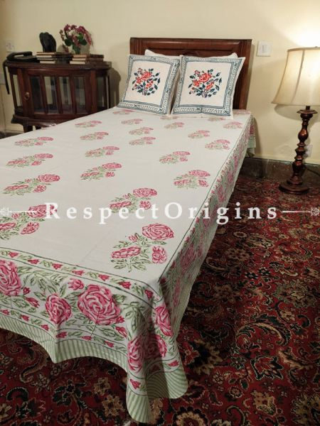 Buy White Base Pink Floral Pure Cotton Block-printed Jaypuri Dohar Comforter Quilt with Piping at RespectOrigins.com