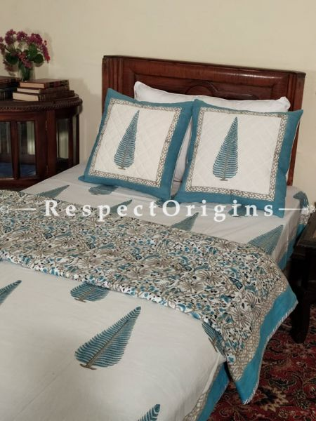 Buy White Base Blue Motifs Pure Cotton Block-printed Jaypuri Dohar Comforter Quilt with Piping at RespectOrigins.com