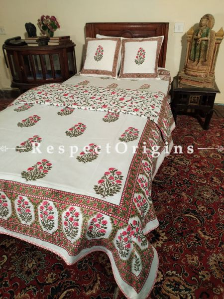 Buy White Base Green n Red Pure Cotton Block-printed Jaypuri Dohar Comforter Quilt with Piping at RespectOrigins.com