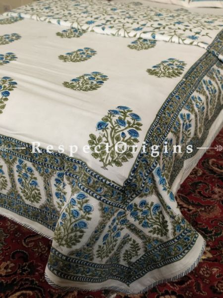 Buy Summery White Blue n Green Pure Cotton Block-printed Jaypuri Dohar Comforter Quilt with Piping at RespectOrigins.com