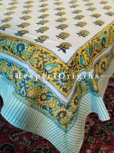 Buy Cotton White with Green n Blue Block-printed Jaypuri Dohar Comforter Quilt with Piping at RespectOrigins.com