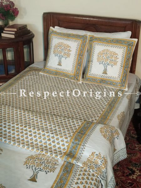 Buy Dreamlike Yellow n Grey Floral motifs on White Base Pure Cotton Block-printed Jaypuri Dohar Comforter Quilt with Piping at RespectOrigins.com