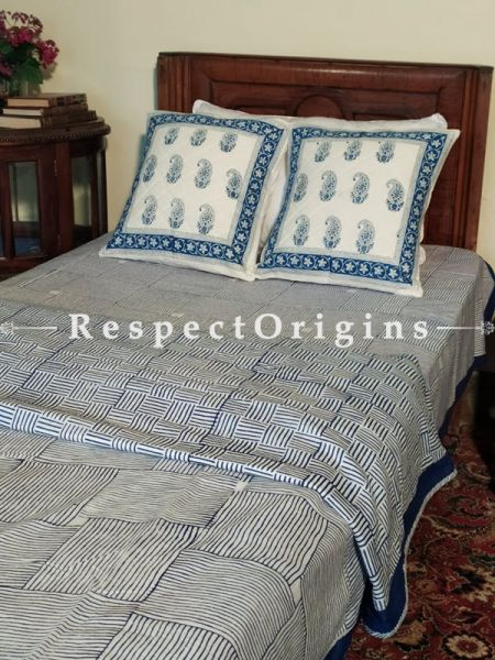 Buy Stripes n Floral White n Blue Pure Cotton Block-printed Jaypuri Dohar Comforter Quilt with Piping at RespectOrigins.com