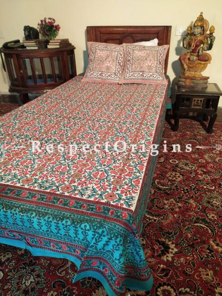Buy Green Blue n White Pure Cotton Block-printed Jaypuri Dohar Comforter Quilt with Piping at RespectOrigins.com