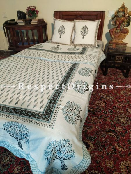 Buy Cozy White Base Pure Cotton Block-printed Jaypuri Dohar Comforter Quilt with Piping at RespectOrigins.com