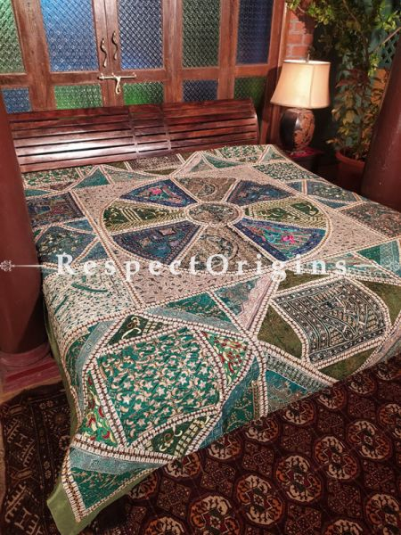 Classic Green Blue with Metallic Tones Hand-embroidered Cotton Silk Lined Bedspread; 102x86 Inches