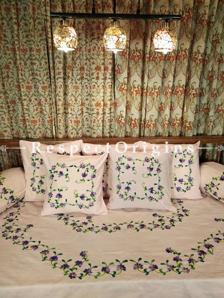 Soft Blush! Hand-embroidered Needlepoint Florals on Rich Pure Cotton; Day Bed Diwan Set with Cover, 5 Throw Pillows and 2 End Pillows. Sheet- 90x60 Inches, Pillows- 17x17 Inches, End Pillows- 33x17 Inches-Mu-50171-70194