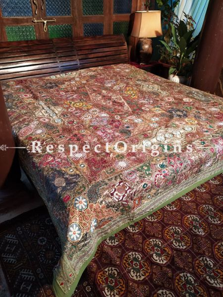 Vintage Unique Piece Richly Embroidered High Quality King Size Cotton Bedspread 105 X 85 Inches; RespectOrigins.com