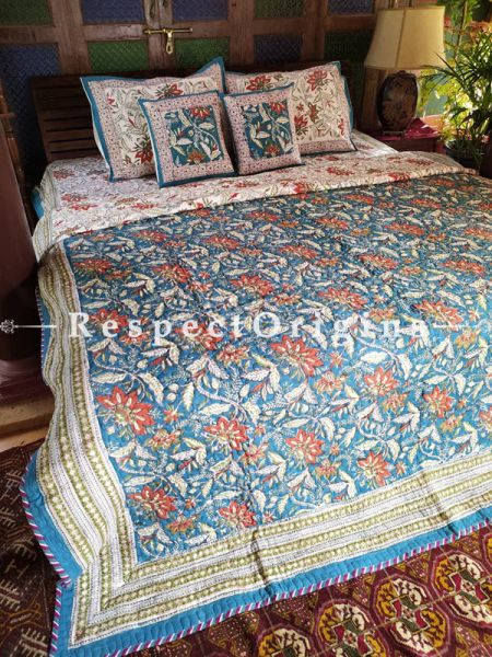 Sahiba Floribund A Quilted Reversible Luxury Cotton Bedding Set; Quilt: 105x85 Inches; Bedspread: 105x90 Inches; Pillow Pair: 28x20 Inches; Cushion Pair: 16x16 Inches; Multi-coloured