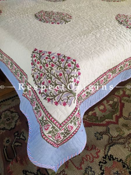 Cream, Red n Blue Quilted Block Printed High Quality Double Bedspread with Tree Motifs; 2 Shams; Spread 110 X 90 In, Pillow Shams 29 X 19 In; RespectOrigins.com