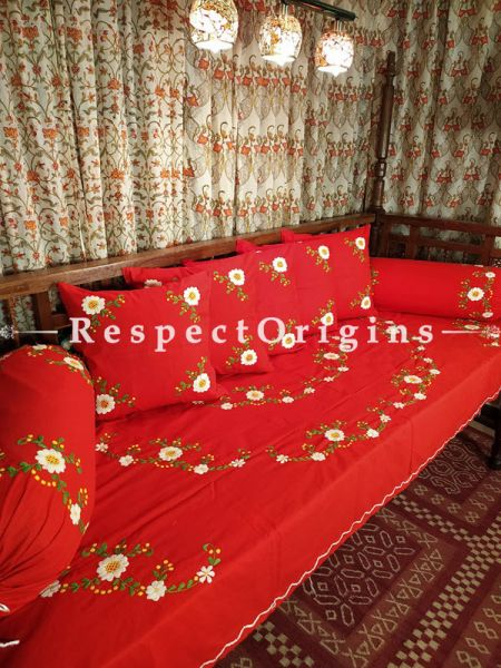 Happiness! Rich Red Hand-embroidered Needlepoint Florals on Rich Pure Cotton; Day Bed Diwan Set with Cover, 5 Throw Pillows and 2 End Pillows. Sheet- 90x60 Inches, Pillows- 17x17 Inches, End Pillows- 33x17 Inches-Mu-50171-70190