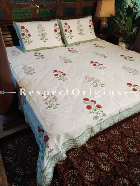 Quilted Block Printed High Quality Double Bedspread in White and Red with 2 Shams; Bedspread 115 x 90 Inches , Pillow Shams 29 x 19 Inches; RespectOrigins.com