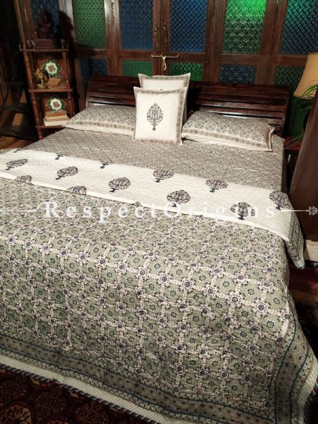 Sheena Luxury Reversible Quilted Pure Organic Cotton Bedding Set; Comforter: 105x85 Inches; Bedspread: 105x90 Inches; Pillow Pair: 28x20 Inches; Cushion Pair: 16x16 Inches; Multi-coloured
