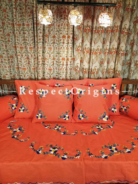 Ripeness! Tomato Red Hand-embroidered Needlepoint Florals on Rich Pure Cotton; Day Bed Diwan Set with Cover, 5 Throw Pillows and 2 End Pillows. Sheet- 90x60 Inches, Pillows- 17x17 Inches, End Pillows- 33x17 Inches-Mu-50171-70195