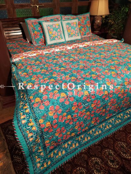Anand A Floribund A Quilted Reversible Luxury Cotton Bedding Set; Quilt: ;Bedspread:105X90 Inches ; Pillowcase: 28X20 Inches ; Comforter: 105X85 Inches;