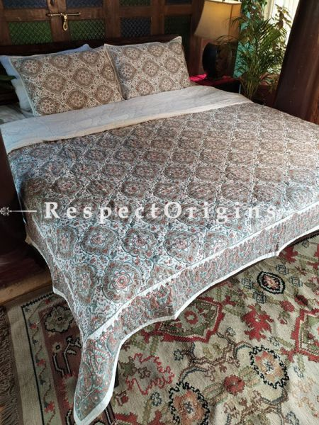 Red,Green n White Quilted Block Printed High Quality Double Bedspread In Floral Multicolor Motifs With 2 Shams; Bedspread 110 X 90 Inches , Pillow Shams 29 X 19 Inches ; RespectOrigins.com
