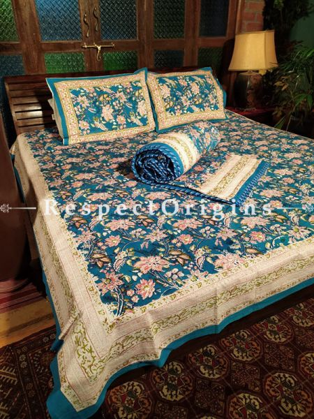 Ariana, Luxury Reversible Quilted Pure Organic Cotton Bedding Set; Comforter: 105x85 Inches; Bedspread: 105x90 Inches; Pillow Pair: 28x20 Inches; Cushion Pair: 16x16 Inches; Multi-coloured