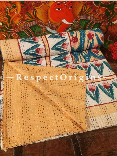 Colorful Gudri Hand Embroidered Kantha Stitch Quilted Pure Cotton Double Bedcover 109 x 85 Inches  base_image