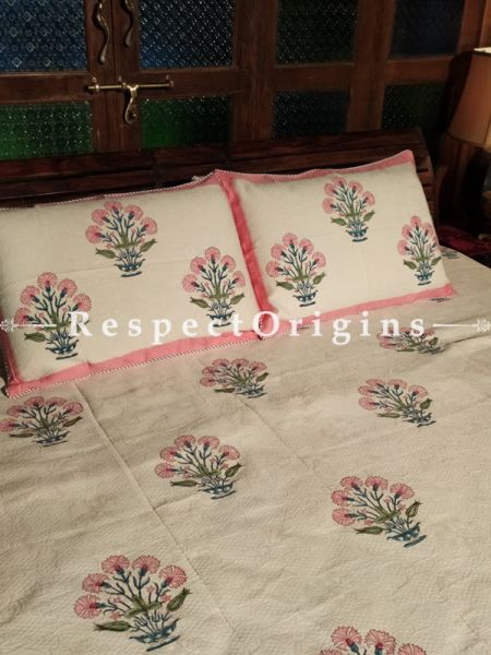 Quilted Block Printed High Quality Double Bedspread in White and Pink with 2 Shams; Bedspread 115 x 90 Inches , Pillow Shams 29 x 19 Inches; RespectOrigins.com