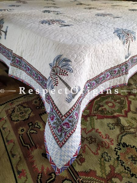 White Quilted Block Printed High Quality Double Bedspread Tree Motifs With 2 Shams; Bedspread 110 X 90 Inches , Pillow Shams 29 X 19 Inches ; RespectOrigins.com