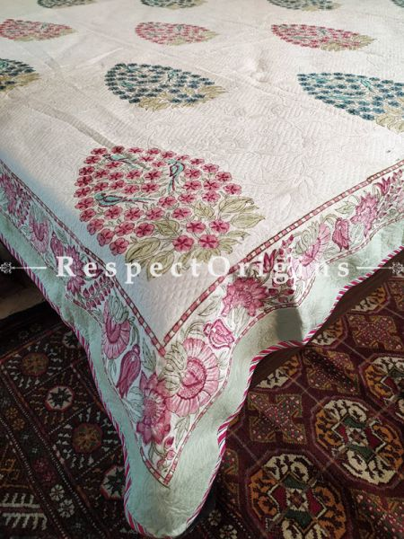 Quilted Block Printed High Quality Double Cream Bedspread with 2 Shams; Bedspread 115 x 90 Inches , Pillow Shams 29 x 19 Inches; RespectOrigins.com