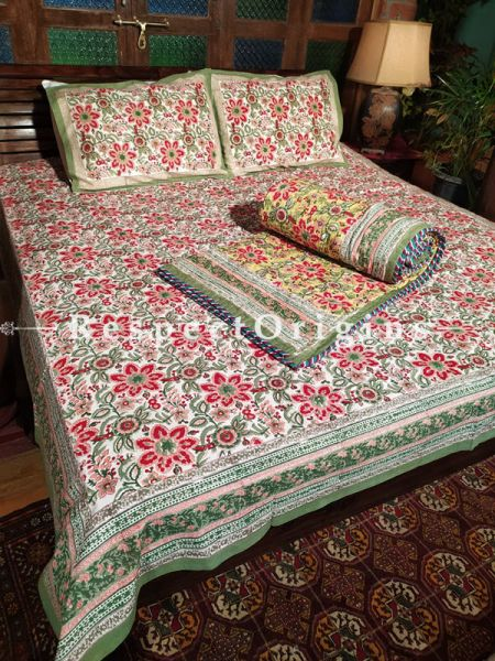 Sierra Floribund A Quilted Reversible Luxury Cotton Bedding Set; Quilt: ;Bedspread:105X90 Inches ; Pillowcase: 28X20 Inches ; Comforter: 105X85 Inches;