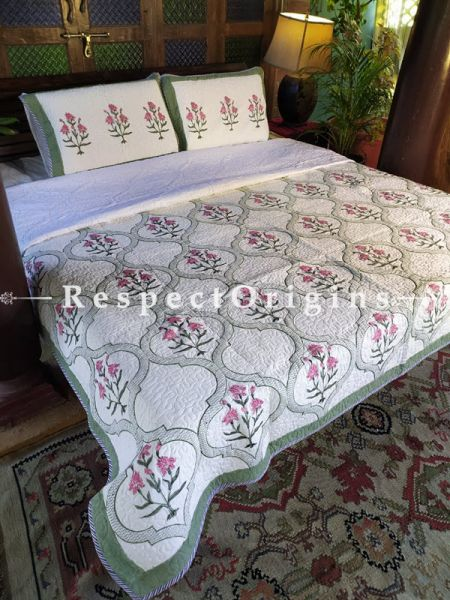 Quilted Block Printed High Quality Double Bedspread In White With Pink Floral Motifs With 2 Shams; Bedspread 110 X 90 Inches , Pillow Shams 29 X 19 Inches ; RespectOrigins.com