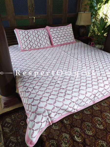Quilted Block Printed High Quality Double Bedspread in White & Pink with 2 Shams; Bedspread 115 x 90 Inches , Pillow Shams 29 x 19 Inches; RespectOrigins.com