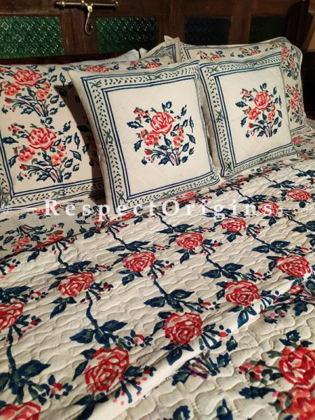 Duncan Luxury Reversible Quilted Pure Organic Cotton Bedding Set; Comforter: 105x85 Inches; Bedspread: 105x90 Inches; Pillow Pair: 28x20 Inches; Cushion Pair: 16x16 Inches; Multi-coloured