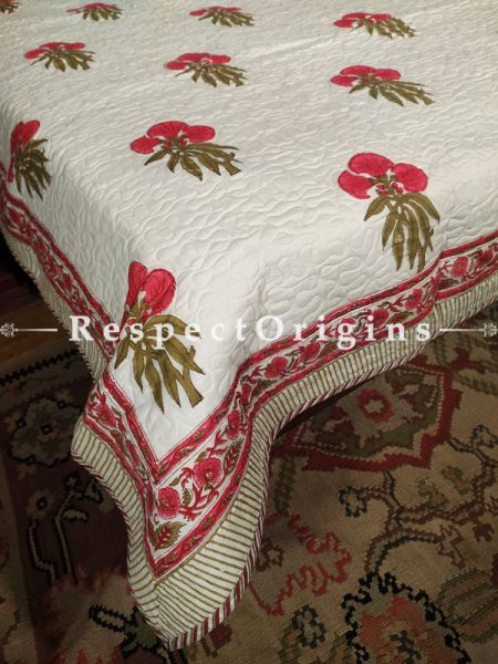 Quilted Block Printed High Quality Double Bedspread In Cream with Red & Green Floral Motifs With 2 Shams; Bedspread 110 X 90 Inches , Pillow Shams 29 X 19 Inches; RespectOrigins.com