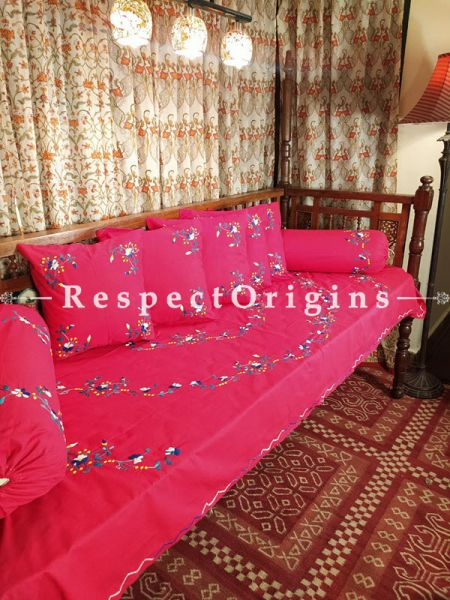Succulent Rasberry Pink Hand-embroidered Needlepoint Florals on Rich Pure Cotton; Day Bed Diwan Set with Cover, 5 Throw Pillows and 2 End Pillows.Sheet- 90x60 Inches, Pillows- 17x17 Inches, End Pillows- 33x17 Inches-Mu-50171-70198