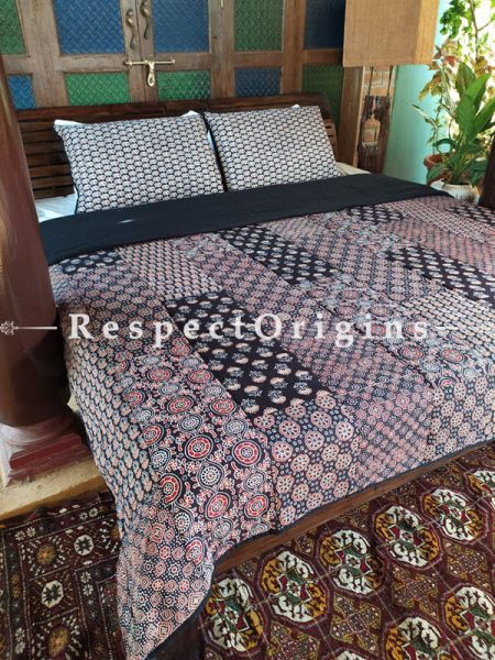 Quilted Block Printed High Quality Double Bedspread in Brown & Black with 2 Shams; Bedspread 110 x 90 Inches , Pillow Shams 29 x 19 Inches; RespectOrigins.com