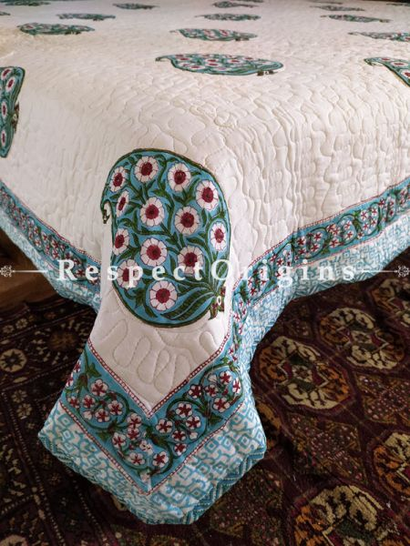Quilted Block Printed High Quality Double Bedspread in White with 2 Shams; Bedspread 110 x 90 Inches , Pillow Shams 29 x 19 Inches; RespectOrigins.com