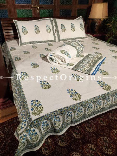 Felix Luxury Reversible Quilted Pure Organic Cotton Bedding Set; Comforter: 105x85 Inches; Bedspread: 105x90 Inches; Pillow Pair: 28x20 Inches; Cushion Pair: 16x16 Inches; Multi-coloured