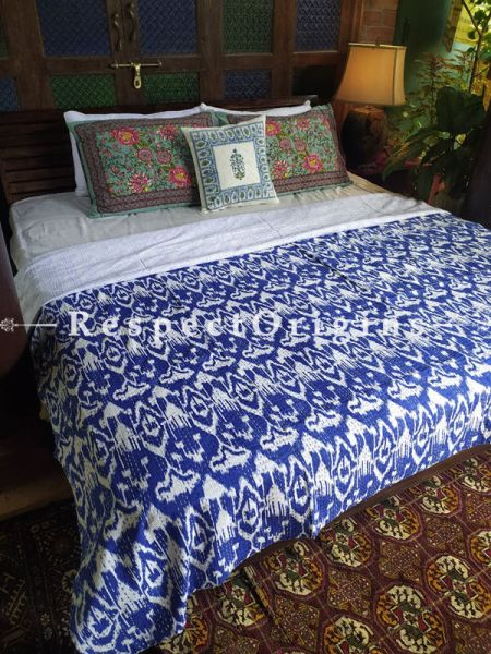 Colorful Gudri Hand Embroidered Kantha Stitch Quilted Pure Cotton Double Bedcover 109 x 85 Inches