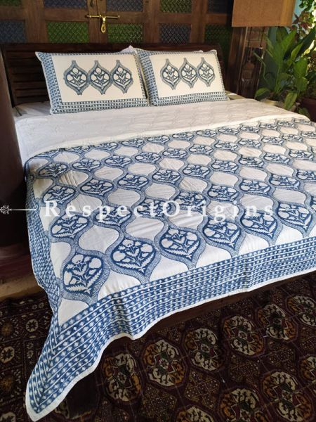 Quilted Block Printed High Quality Double Bedspread in White & Blue with 2 Shams; Bedspread 110 x 90 Inches , Pillow Shams 29 x 19 Inches; RespectOrigins.com