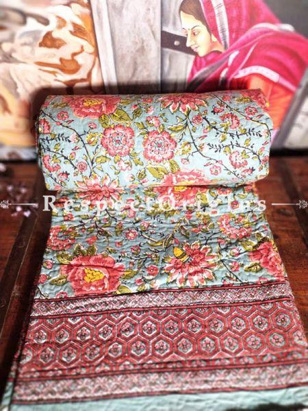 Buy Orange and Blue Floral Quilted Reversible Dohar Comforter;At RespectOrigins