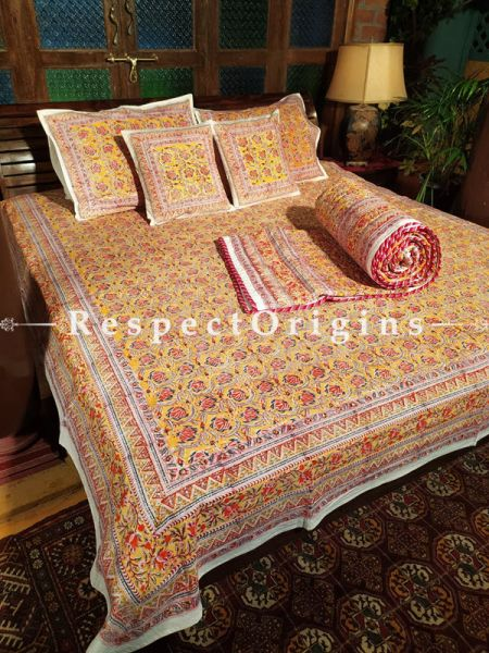 Marigold Luxury Reversible Quilted Pure Organic Cotton Bedding Set; Comforter: 105x85 Inches; Bedspread: 105x90 Inches; Pillow Pair: 28x20 Inches; Cushion Pair: 16x16 Inches; Multi-coloured