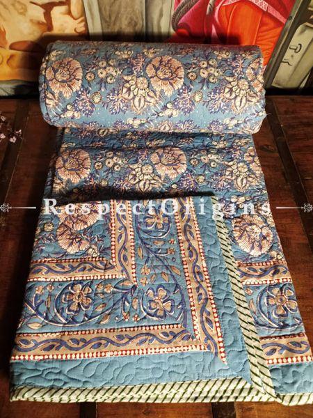Buy Powder Blue Floral Quilted Reversible Dohar Comforter;At RespectOrigins