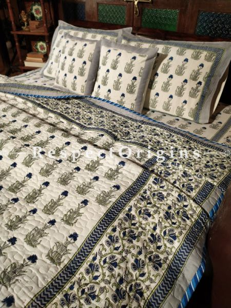Tiara Luxury Reversible Quilted Pure Organic Cotton Bedding Set; Comforter: 105x85 Inches; Bedspread: 105x90 Inches; Pillow Pair: 28x20 Inches; Cushion Pair: 16x16 Inches; Multi-coloured
